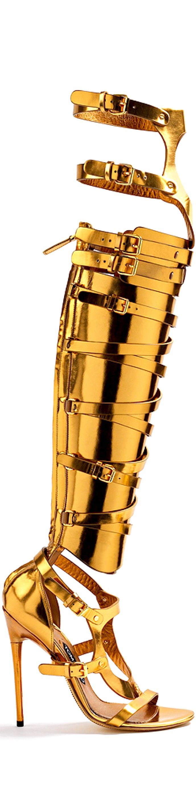 TOM FORD - Metallic gold gladiator boot
