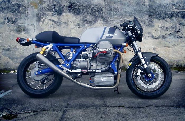 If you have a Moto Guzzi and live in Europe then you have probably heard of Dynotec in Germany. The word on the street is that these guys are the masters at Guzzi engine modifications and restorations. This high spec Moto Guzzi Cafe Racer is their latest project with Ohlins shocks, Excel Talon Supermoto Wheels and a beautiful electric blue powder coated frame. Would love to give you the full build specs but unfortunately I can't read ze German... Scheisse! There is loads of great pics on…