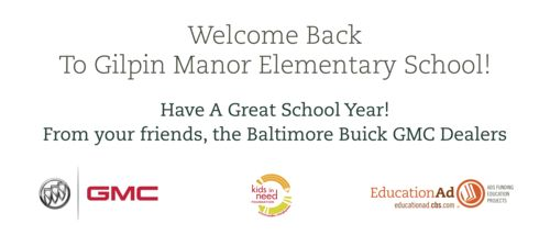 500 Students at Gilpin Manor Elementary School Get New Backpacks Filled with School Supplies Courtesy of Baltimore Buick-GMC Dealers - Thanks @EcoMedia CBS!
