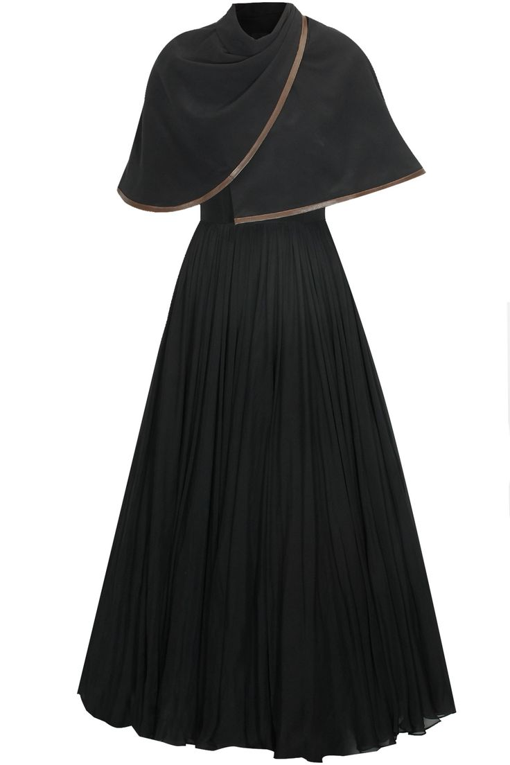 Black shawl cape pleated gown available only at Pernia's Pop Up Shop.