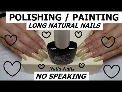 POLISHING / PAINTING MY LONG NATURAL NAILS - BLACK POLISH