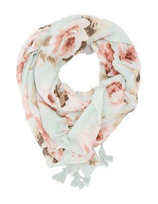 Floral Print Tasseled Oblong Scarf