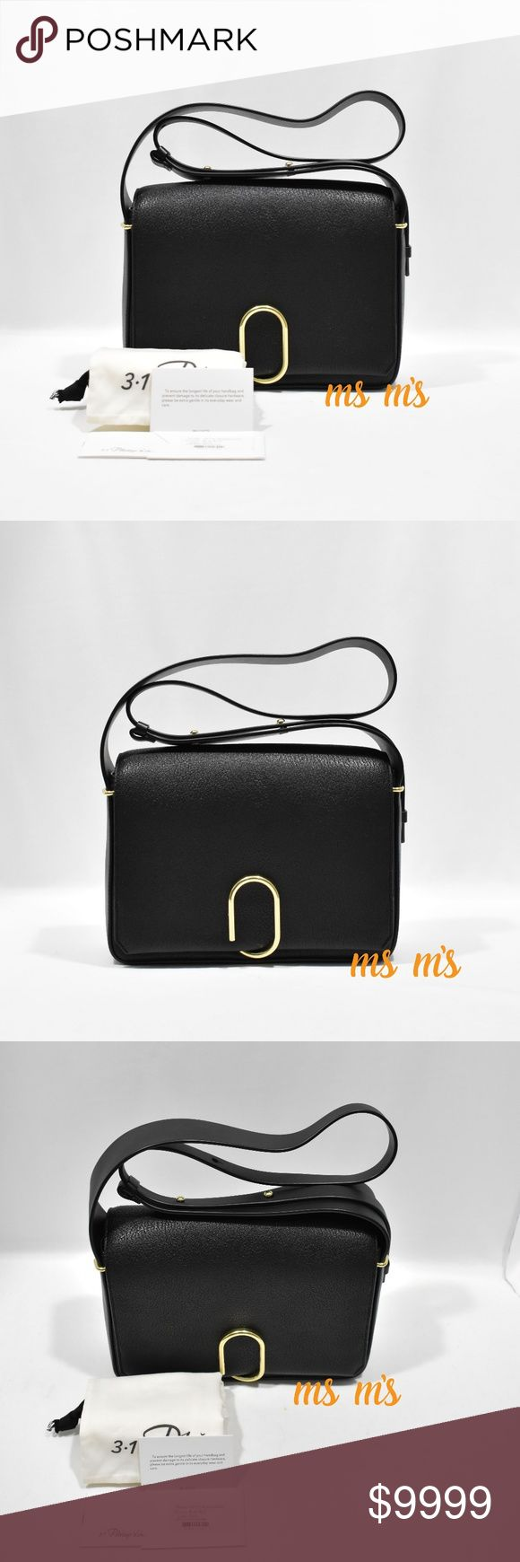 """NWT 3.1 Phillip Lim black leather cross body 3.1 Phillip Lim two-tone goat leather messenger bag. Adjustable shoulder strap; 13-17"""" drop. Flap top with brass clip closure. Fabric lining; one zip pocket. 7""""H x 10.5""""W x 3""""D. """"Alix"""" is imported of French material. 3.1 Phillip Lim Bags Crossbody Bags"""