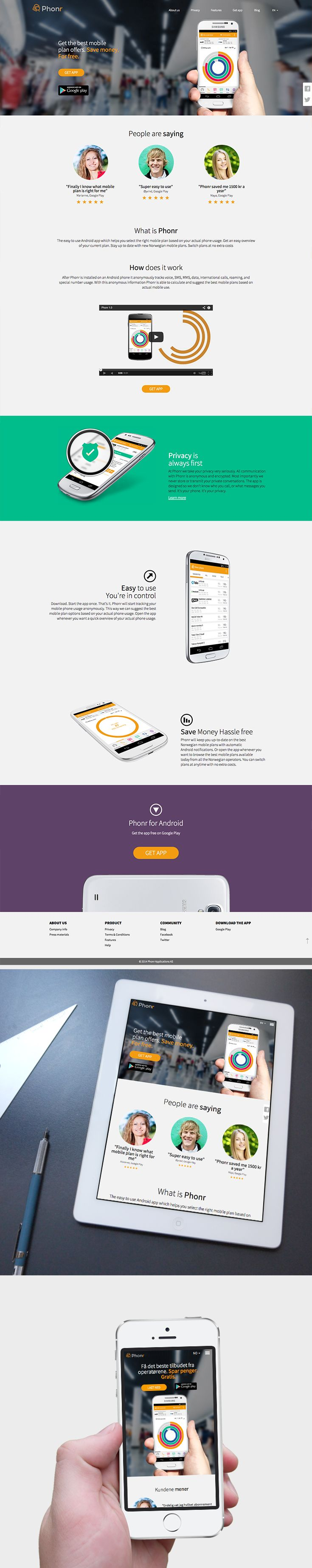Phonr App - RESPONSIVE PRODUCT WEBSITE by www.chilidagency.com This responsive web design website presents, promotes and sells Phonr App - the easy to use Android app which helps you select the right mobile plan based on your actual phone usage.  Scope of work: Interface, Design, Wireframes, Graphic Design, HTML5, Sass, JavaScript