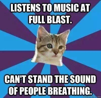 """Makes purrfect sense to me!   [An image of a kitten's head in the middle of a blue and purple background with the captions """"listens to music at full blast"""" and """"can't stand the sound of people breathing"""" above and below it.]"""