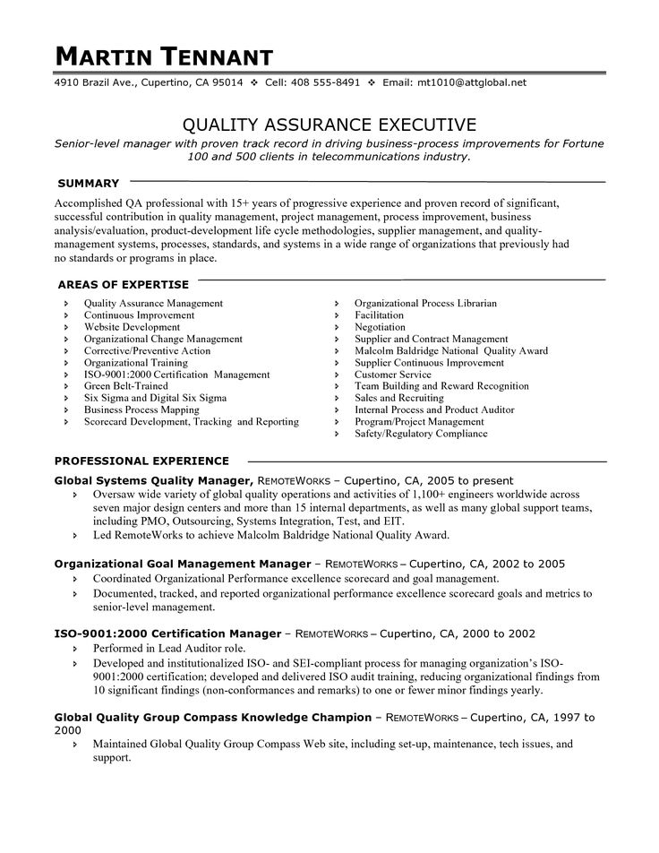 Quality Assurance Manager Resume examples, Project