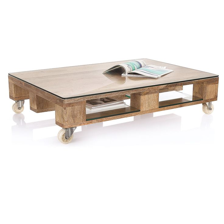 Couchtisch, rollbar, Industrial Look, Mango massiv, Glas, Metall   Couchtische  · Wooden Coffee TablesShop ...