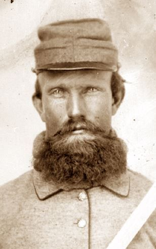 Close-up view of 1st Lt. A.J. Crutchfield of the 20th (Russell's) Tennessee Cavalry. Killed at the Battle of Sulphur Creek Trestle, AL. also known as the Battle of Athens, AL.