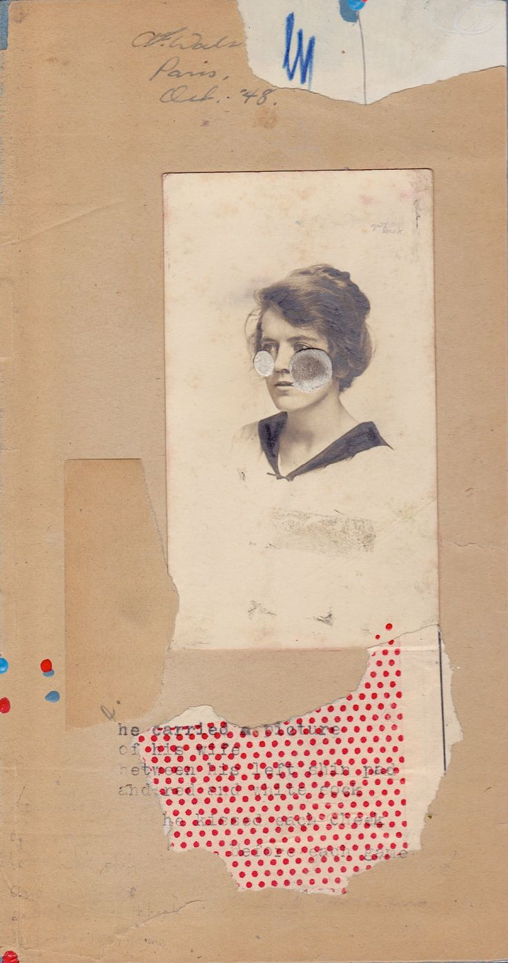 "Silent Fortune by Christian Nicolay. Salvaged photograph, found detritus paper, pencil, typewriter ink, acrylic paint on panel. 8"" x 4.25 2014  ‪#‎PhantomsNeverKnown‬  a miniature artwork exhibition, Friday April 25th at The Burrard Hotel - Vancouver BC"