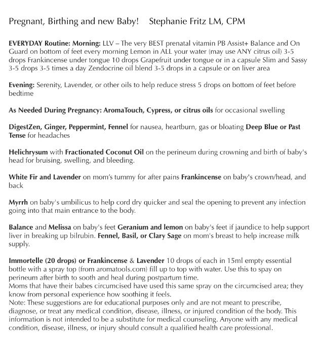 DoTerra cheat sheet for pregnancy! Essential Oils to Help with Pregnancy, Labor and Your Newborn. Shop and learn more at http://www.mydoterra.com/glutenfree/
