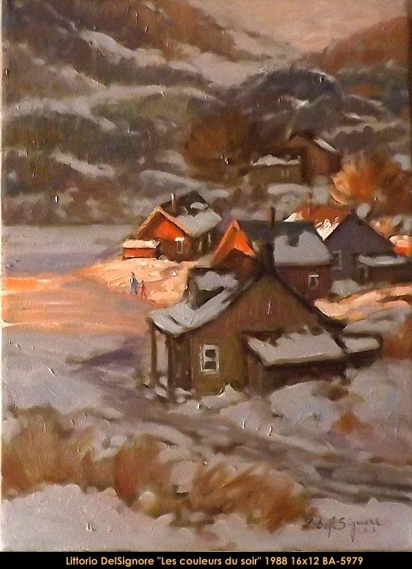 Original oil painting on canevas by Littorio Del Signore #Littoriodelsignore #artist #canadianartist #quebecartist #art #fineart #figurativeart #originalpainting #oilpainting #winterscene #nightscene #village #balcondart #multiart