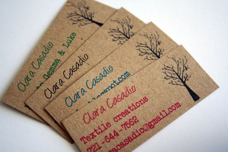 Mini business cards - calling cards - recycled kraft paper (set of ...