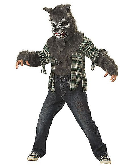 Howling at the Moon Gray Wolf Child Costume - Spirithalloween.com