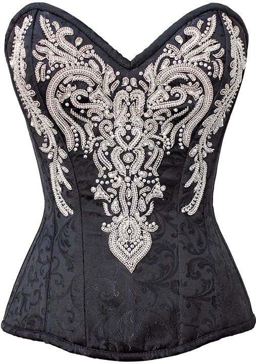 The Violet Vixen - Lady Elegant's Victorian Embelishments, $152.86 (http://thevioletvixen.com/corsets/lady-elegants-victorian-embelishments/)  Richly beaded black and white corset with raised embellishment stitching and jewels, this high quality corset has strong lacing for waist training, black brocade perfect for burlesque, formals, dances, theater, victorian or vintage purposes.