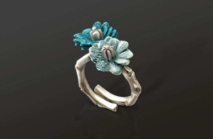 Women Ring: Silver 925ml, Leather