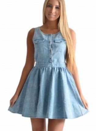 UsTrendy Denim Skater Dress with Peek-A-Boo Back Cutout, Crochet Back, and Flared Skirt