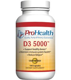Vitamin D3 5000 IU (Vitamin D3 5,000 Iu Supplement). Give your body a boost with the sunshine vitamin. High potency for maximum support of bones. Promotes calcium absorption. Supports a healthy immune system. Available at ProHealth.com ($12.49) #ProHealth