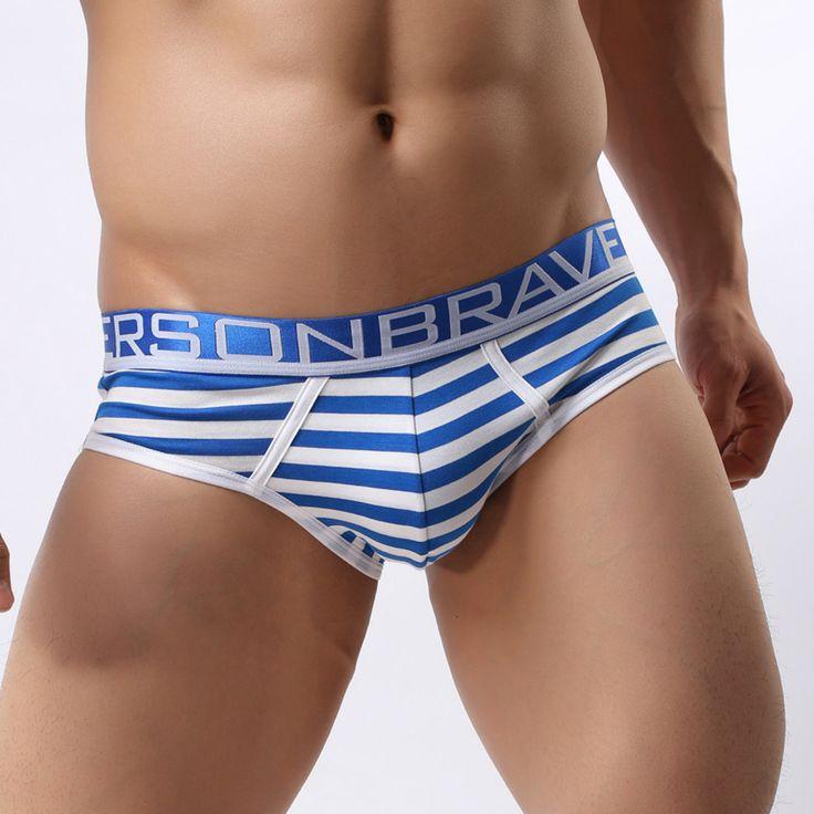 BRAVE PERSON Brand Underwear Cotton Shorts Men Sexy Fashion Briefs Striped Wide Belt Undies B1154