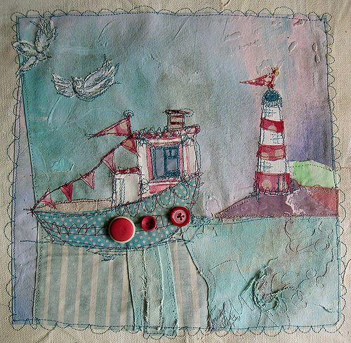 Lighthouse and Boat | Mixed Media | Priscilla Jones | Flickr