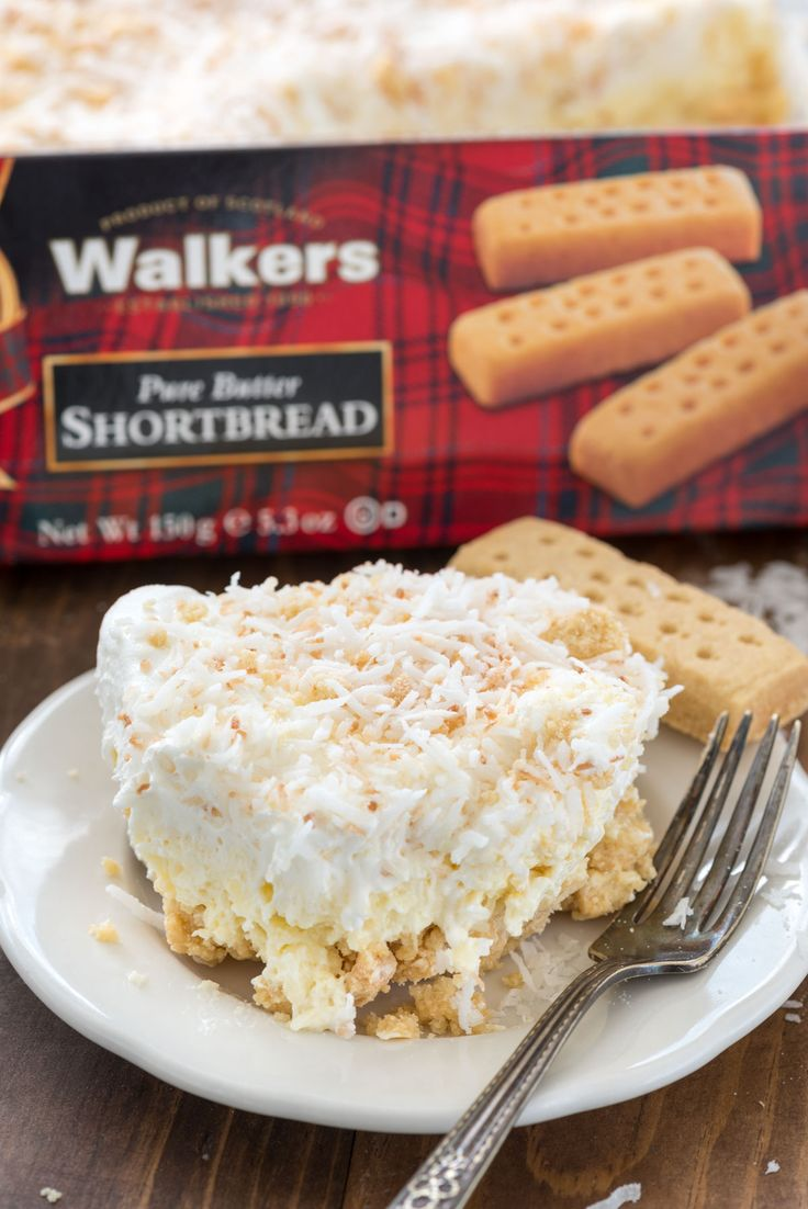 Coconut Cheesecake No Bake Dessert Recipe made with a Walkers Shortbread Cookie Crust