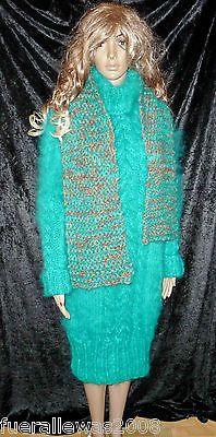 handgestrickt Strickkleid hand knitted smaragd grün Mohair Größe 40 bis  44