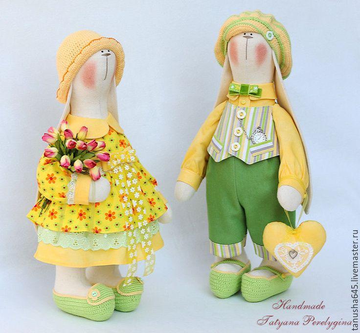Купить Зайки солнечные. - зайцы тильда, кролики, тильда заяц, ручная работа, интерьерные куклы