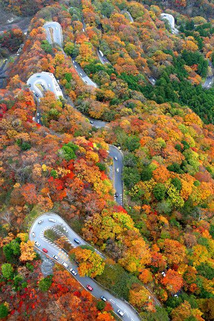 栃木県日光市のいろは坂(2013年10月30日、遠藤啓生撮影)。例年の見頃は10月中旬から11月上旬