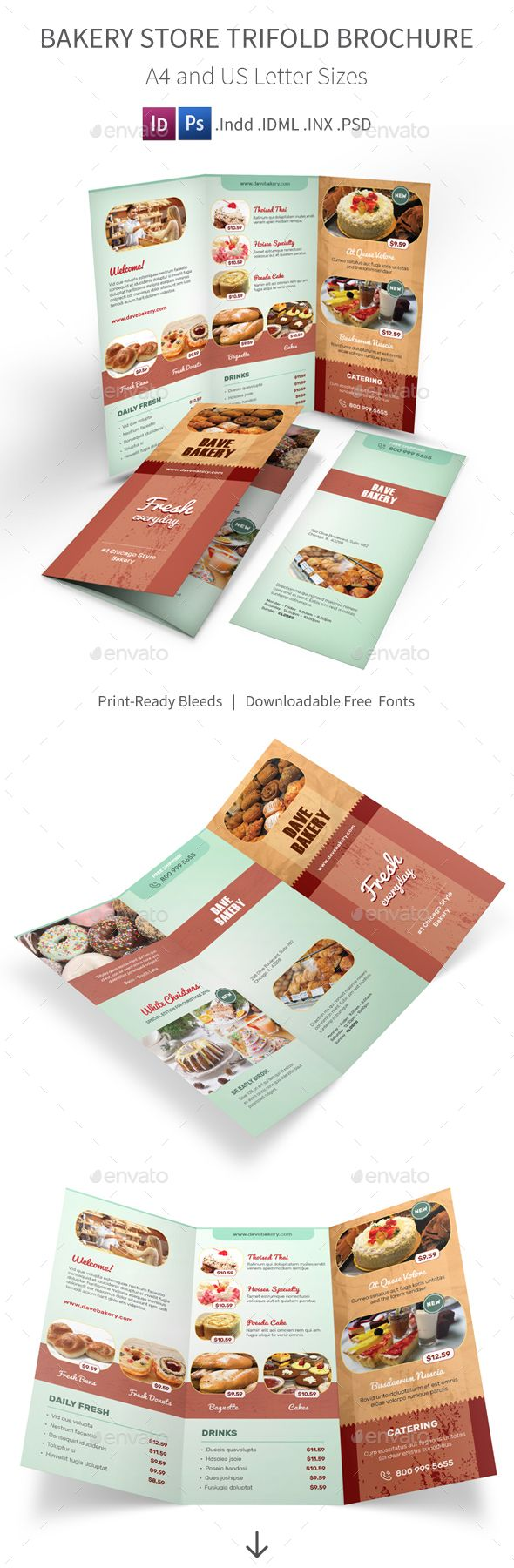 Bakery Store Trifold Brochure - Informational Brochures