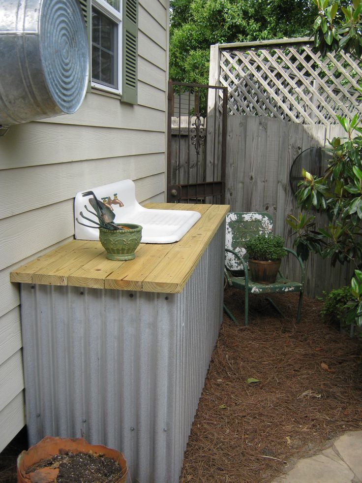 17 best images about basin blues outdoor garden sink for Outdoor kitchen sink ideas
