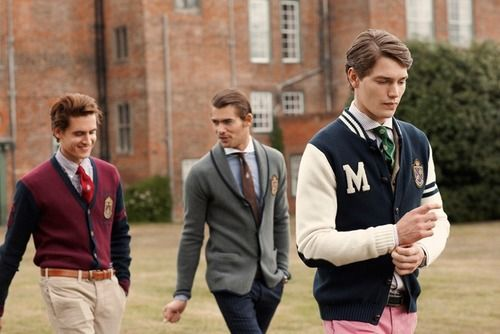 Preppy fashion: name derived from the private preparatory schools these students had attended before entering college. stressed classic tweed blazers, conservatively cut skirts or trousers, tailored blouses or shirts, and high quality leather loafers, oxfords, or pumps.