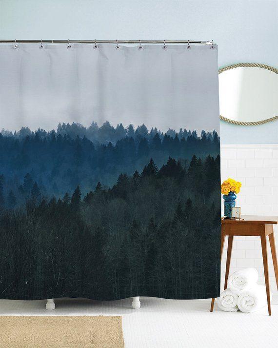 Trees Shower Curtain Mountain Shower Curtain Scenic Shower Curtain Nature Shower Curtain Blue Bathroom Decor Grey Fabric Blue Bathroom Decor Blue Shower Curtains Tree Shower Curtains