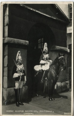 Valentines Postcard - Horse Guards Sentries, Whitehall, London - 64226 c1954
