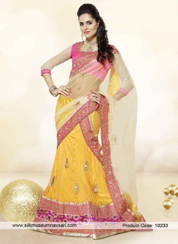 Exuberant Beige, Gold And Pink Border Patch Art Silk Lehenga Choli