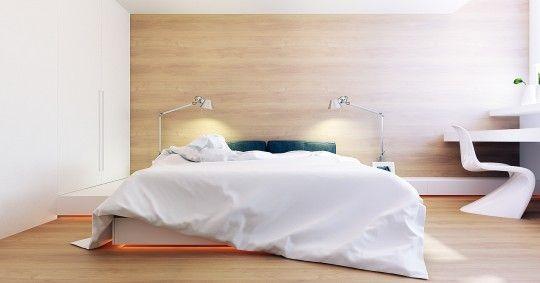 Chambre contemporaine avec un mur recouvert de bois clair (chêne blanchi)