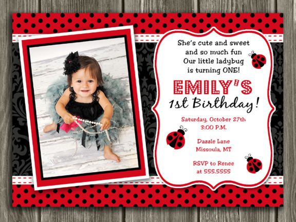 Printable Ladybug  Birthday Photo Invitation   Girl Birthday Party Idea   Girl Bug   FREE thank you card included   Become a loyal fan on Facebook to receive freebies and see the latest designs! www.facebook.com/DazzleExpressions