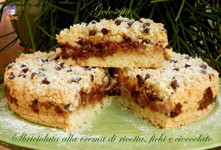 Sbriciolata+alla+crema+di+ricotta,+fichi+e+cioccolato,+ricetta+golosa