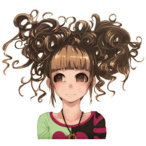 Safebooru - Anime picture search engine! - brown eyes brown hair curly... ❤ liked on Polyvore featuring anime, drawing, manga and people