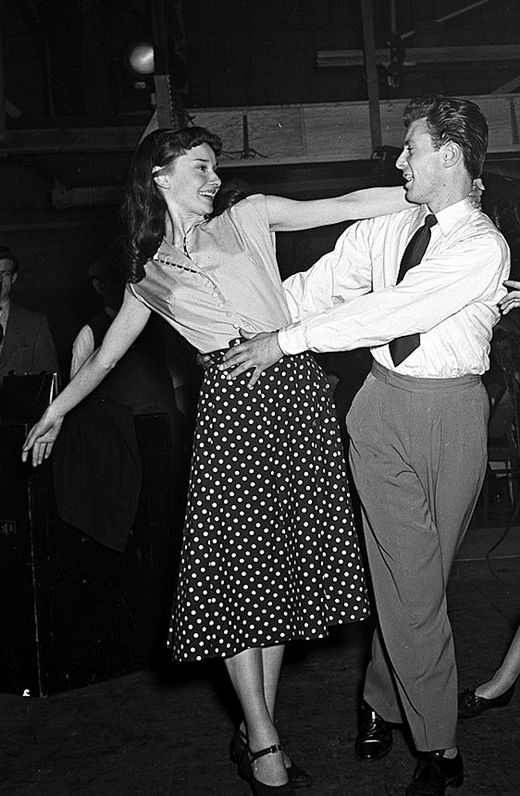 Audrey Hepburn and Michael Allen are pictured rehearsing on the set of The Secret People, London, 1951