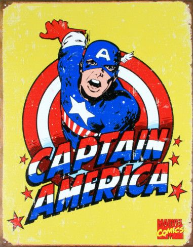 Captain America Tin Sign at AllPosters.com