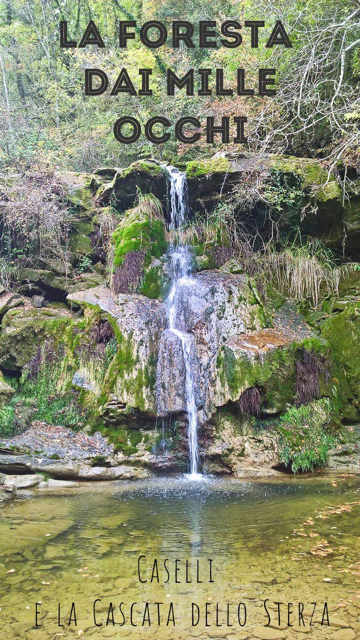 Nella riserva naturale di Caselli si ha la sensazione di essere osservati da mille occhi. Dal sentiero dei mille occhi si arriva alla cascata dello Sterza.