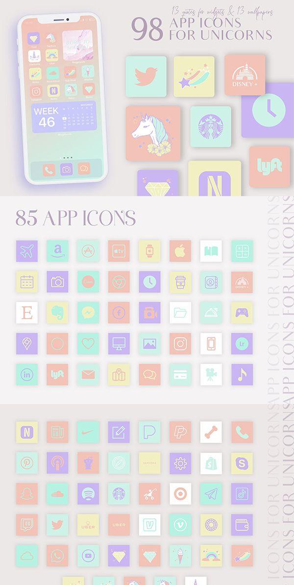 Ios14 App Icons Unicorn Aesthetic In 2021 App Icon App Covers App