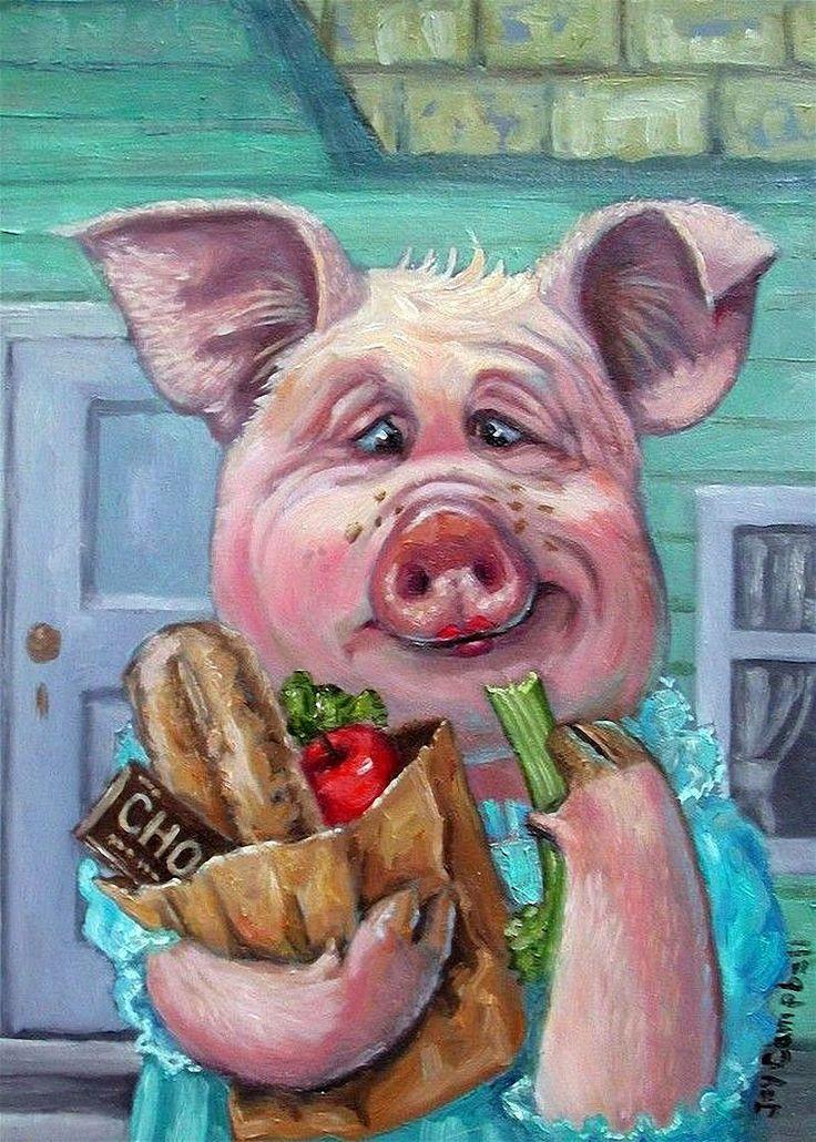 Утро солнышко, открытка свиньи