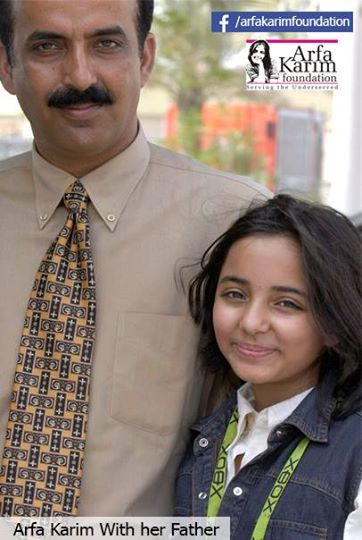Arfa Karim With CEO Arfa Karim Foundation Lt.Col (R) Amjid Karim Randhawa.