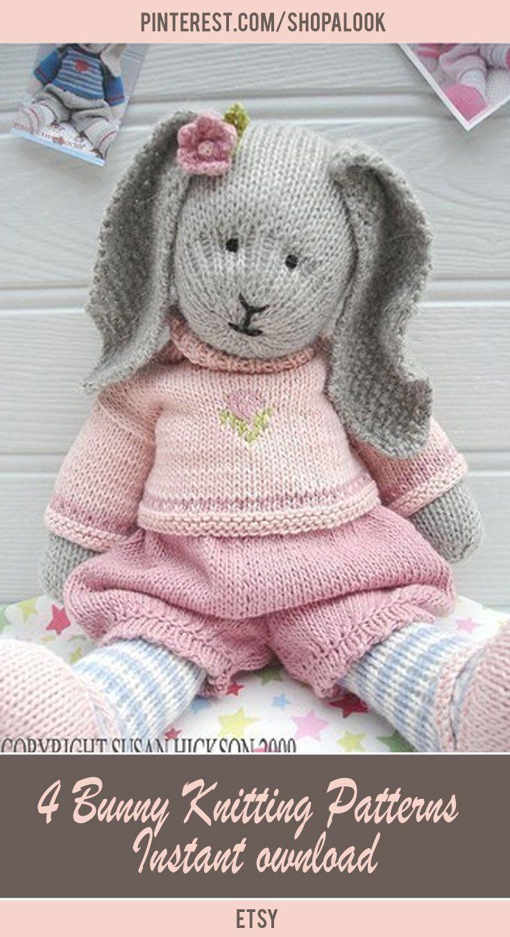 4 Bunny Knitting Patterns/ Oscar/ Bluebell/ Daisy / Primrose/ Rabbits/ / Plus FREE 'Handmade Shoes' Knitting Pattern/ INSTANT Download #afflink #knittingpatterns #crafts