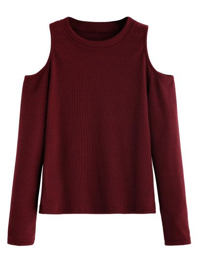 Burgundy Open Shoulder Knitted T-shirt -SheIn(Sheinside) Mobile Site