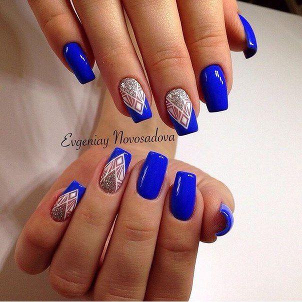 фото ногти синего цвета