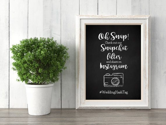 Do you have a one of a kind Snapchat filter ready to use for your big day?! Let your guests know with this adorable sign customized to display your wedding hashtag while letting guests know that there is a special snapchat filter available.  There are many ways to use these! Ex. Print out and frame to display at your event, upload to your wedding website, include them as a flyer in wedding gift bag, print on foam or poster board and place on an easel outside the reception venue. Dont let…