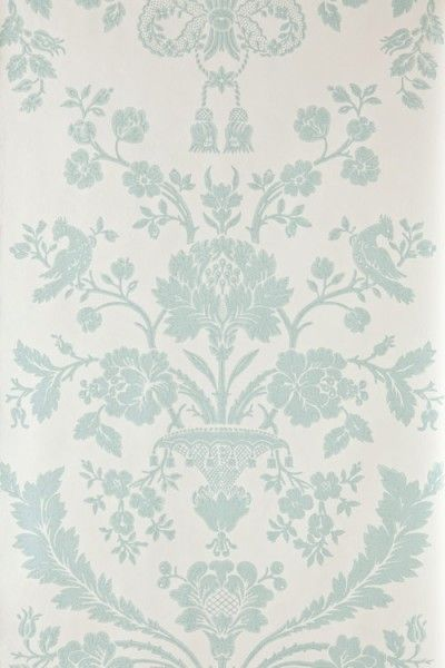 St Antoine (BP 942) - Farrow & Ball Wallpapers - A beautiful french damask creeping floral motif in a pictorial design. Shown here in duck egg blue/green on off white water based paints - more colours are available. Please request a sample for true colour match