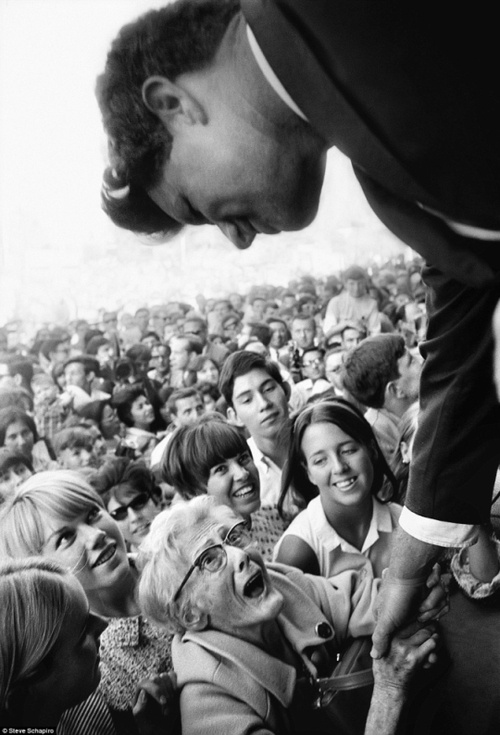 Robert Kennedy on the campaign trail, 1968. How sweet is that little old lady's face, so happy and excited to meet Bobby Kennedy! I would have been just like that except probably worse! lol <3 I have some serious Kennedy crushes! :)