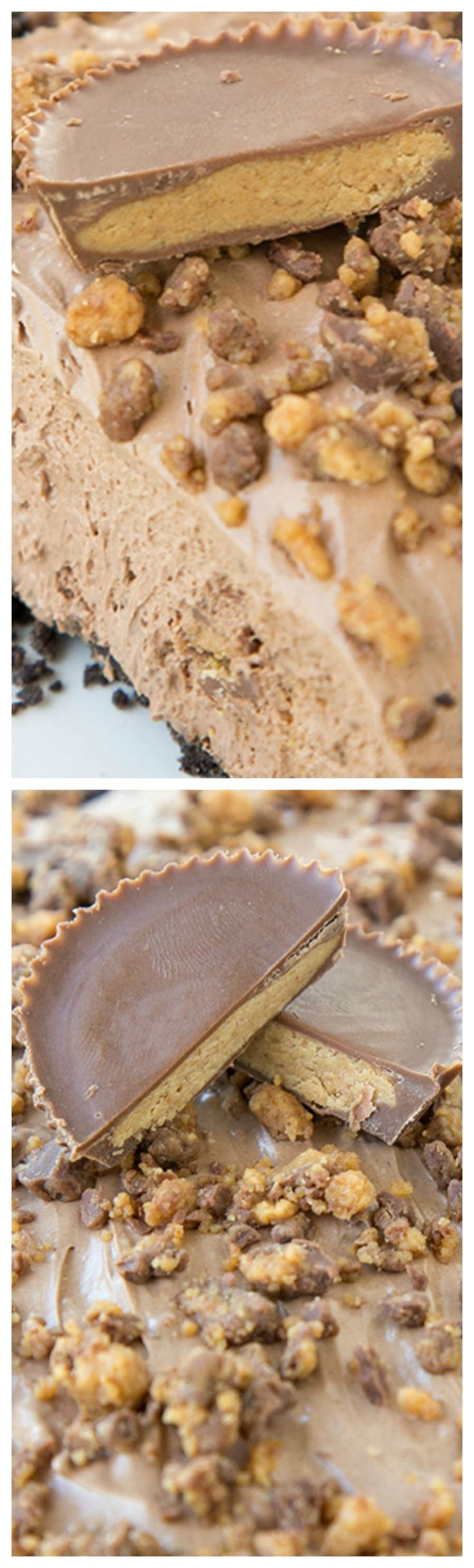 No Bake Chocolate Reese's Cheesecake ~ It has a creamy, rich chocolate filling with chunks of peanut butter chocolate in a Peanut Butter Oreo Crust... It's a choco-holics dream dessert!